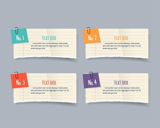 Modelos de caixa de texto de nota de papel