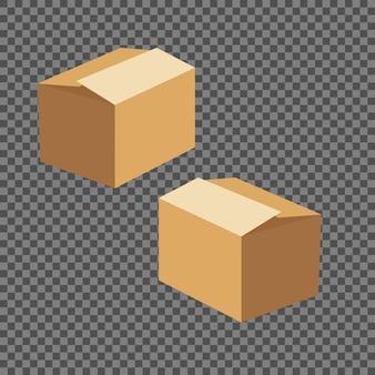 Modelos de caixa quadrada conjunto isolado em fundo transparente.