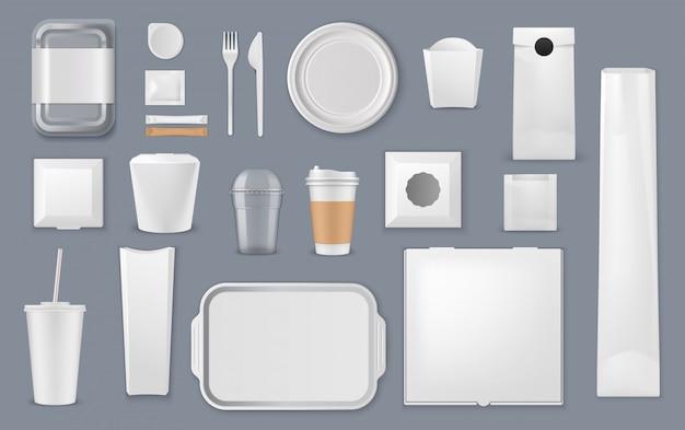 Modelos de caixa, saco e xícara de embalagens de alimentos