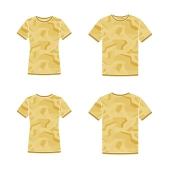 Modelos de camisetas de manga curta amarelos com o padrão de camuflagem
