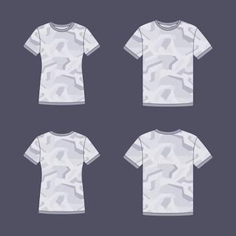 Modelos de camisetas de manga curta branca com o padrão de camuflagem