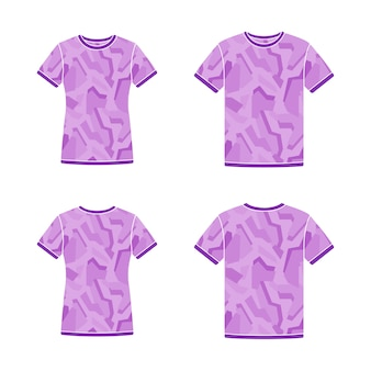 Modelos de camisetas de manga curta roxa com o padrão de camuflagem