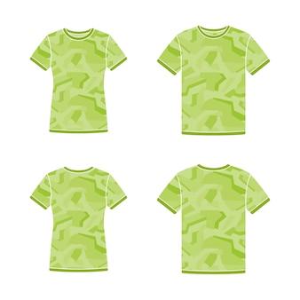 Modelos de camisetas de manga curta verdes com o padrão de camuflagem