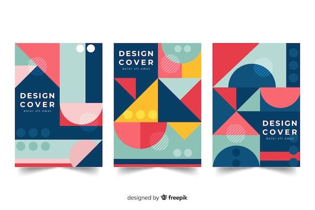 Modelos de capa de design com formas geométricas