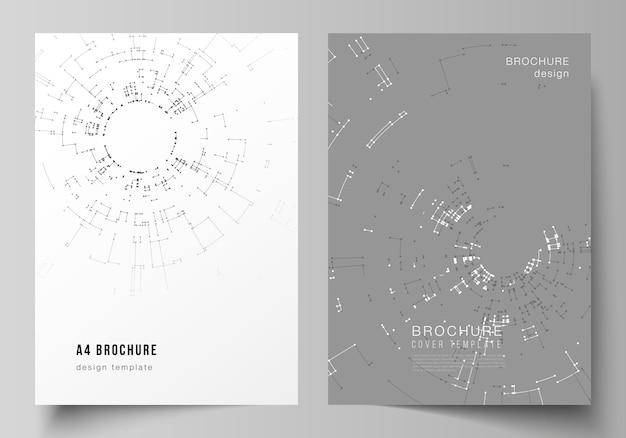 Modelos de capa de formato a4 para brochura, conceito de conexão de rede