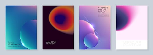 Modelos de capa mínima com borrões de gradiente abstratos coloridos e geométricos