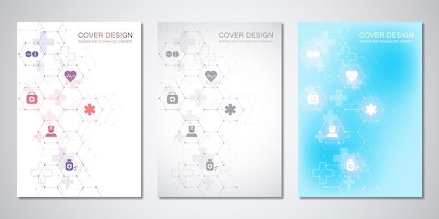 Modelos de capa ou brochura, com padrão de hexágonos e ícones médicos. cuidados de saúde, ciência e tecnologia.