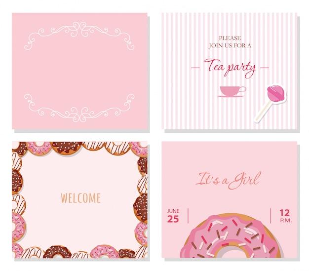 Modelos de cartão conjunto em rosa pastel