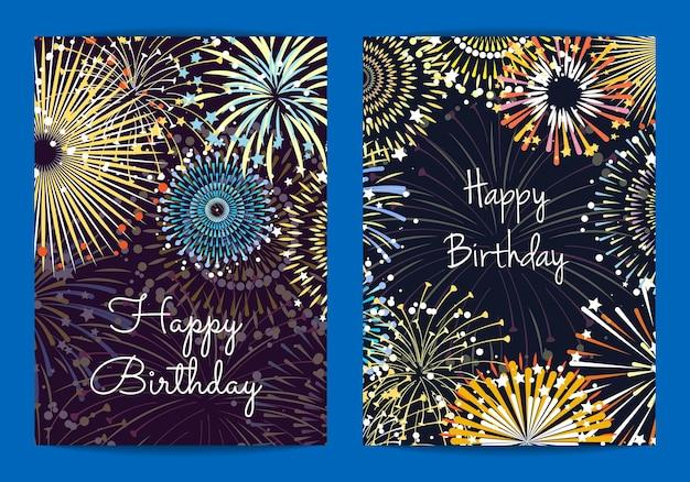 Modelos de cartão de aniversário de fogos de artifício. ilustração de festa de celebração e feriado, fogos de artifício festivos brilhantes