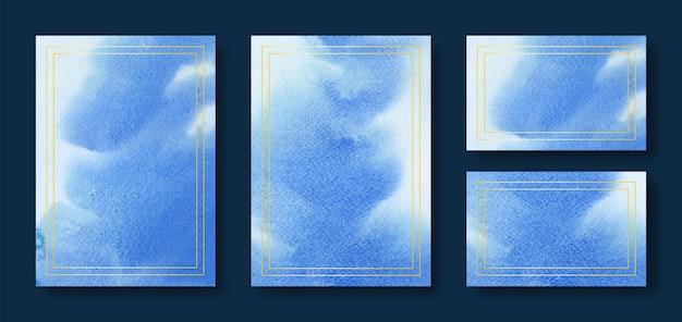 Modelos de cartão de casamento em aquarela azul com moldura dourada