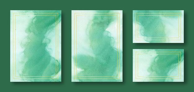 Modelos de cartão de casamento em aquarela verde com moldura dourada