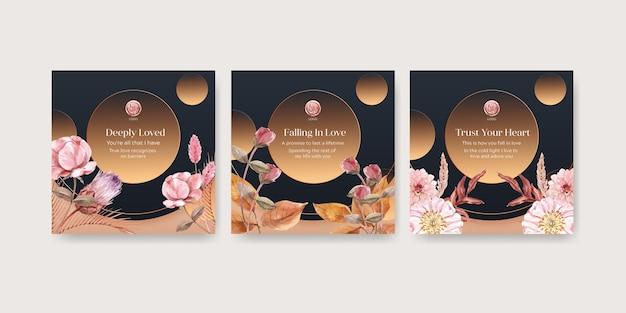 Modelos de cartão de celebração de casamento definidos em estilo aquarela