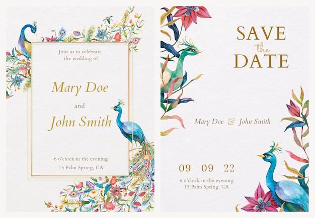 Modelos de cartão de convite com ilustração de pavões em aquarela e flores