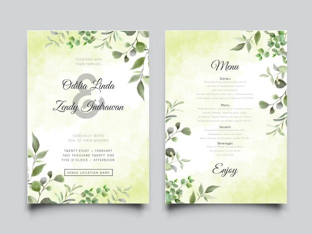 Modelos de cartão de convite de casamento com folhas verdes