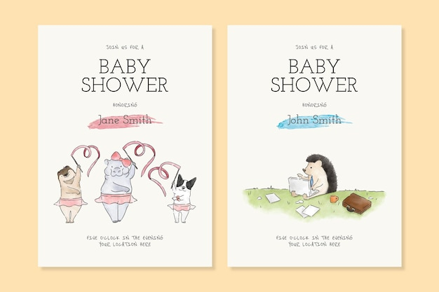 Modelos de cartão de convite para chá de bebê de desenho animado fofo