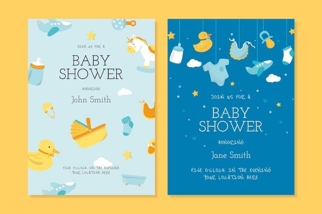 Modelos de cartão de convite para chá de bebê fofo