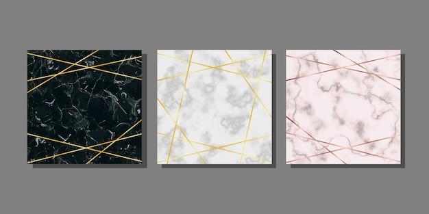 Modelos de cartão de mármore com linha dourada