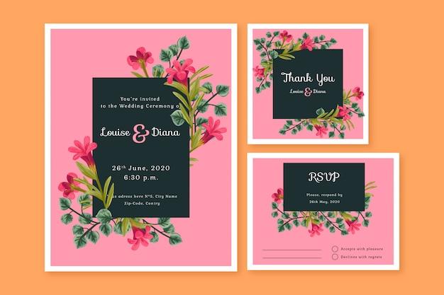 Modelos de cartão de papelaria de casamento