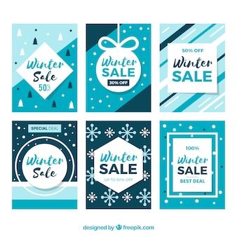 Modelos de cartão de venda de inverno azul