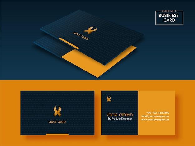 Modelos de cartão de visita da cor azul e alaranjada com dupla face.