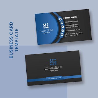 Modelos de cartão de visita moderno na cor azul e preta.