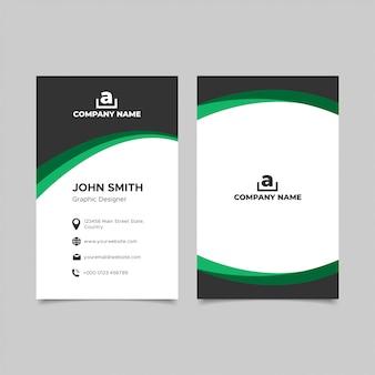 Modelos de cartão de visita vertical verde e preto