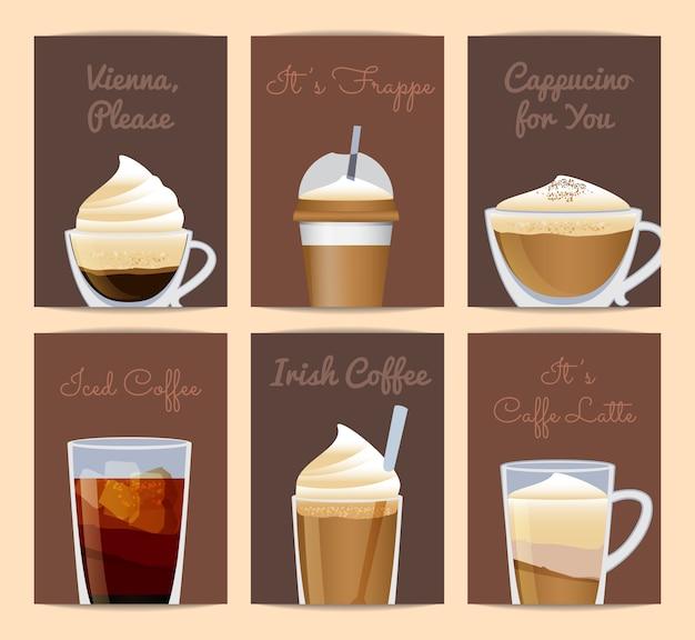 Modelos de cartão de xícaras de café preenchido diferentes com lugar para texto. cartaz de cartão de café para o menu do restaurante café