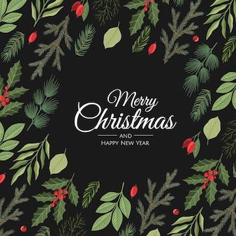 Modelos de cartão floral de natal e feliz ano novo. estilo retro moderno. elemento de desenho vetorial.