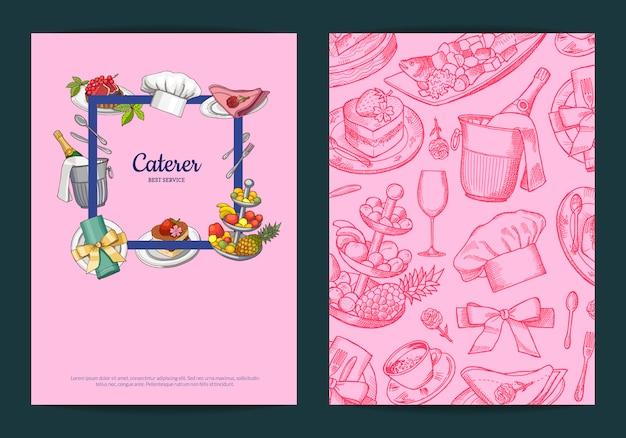 Modelos de cartão ou folheto com mão desenhada restaurante ou elementos de serviço de quarto