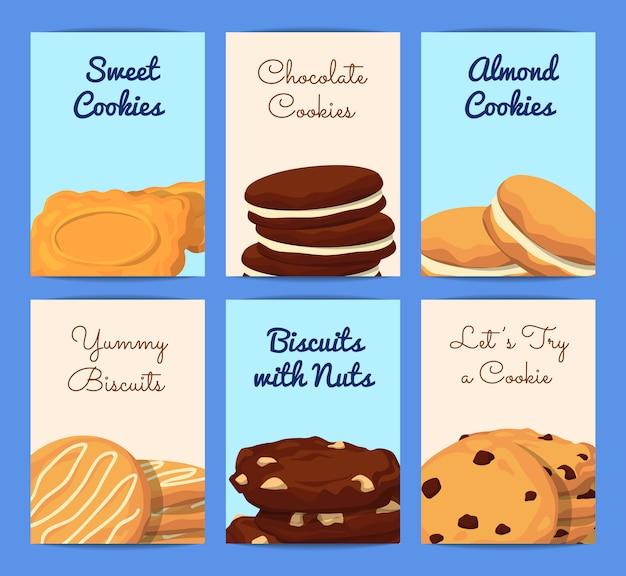 Modelos de cartão ou panfleto conjunto com lugar para texto e com ilustração de cookies dos desenhos animados