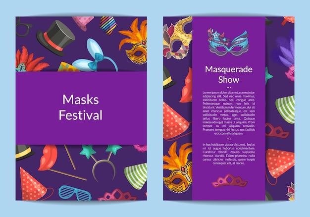 Modelos de cartão ou panfleto conjunto com máscaras e acessórios de festa e lugar para ilustração de texto