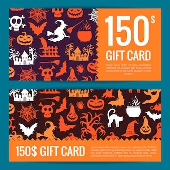 Modelos de cartão ou voucher de presente de dia das bruxas com bruxas, abóboras, fantasmas e silhuetas de aranhas