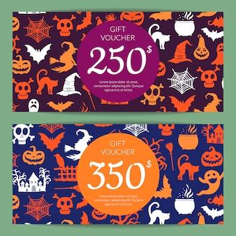 Modelos de cartão ou voucher de presente de dia das bruxas com bruxas, abóboras, fantasmas, silhuetas de aranha com lugar para texto
