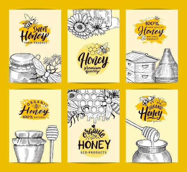 Modelos de cartão para loja de mel ou fazenda com elementos de tema de contorno de mel esboçado mão desenhada
