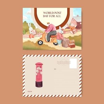 Modelos de cartão postal para o dia mundial dos correios em estilo aquarela