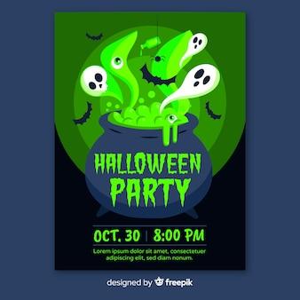 Modelos de cartaz de festa de halloween de design plano