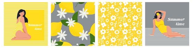 Modelos de cartões de horário de verão com limões