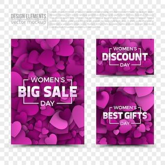 Modelos de cartões de vendas do dia das mulheres