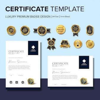 Modelos de certificado de criativo com emblemas