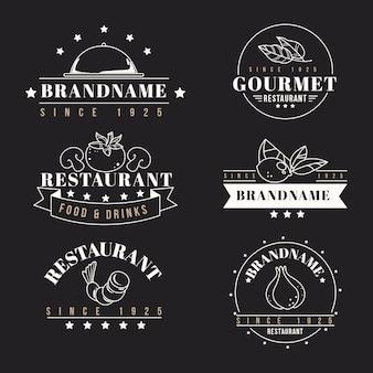 Modelos de coleção de logotipo retrô de restaurante