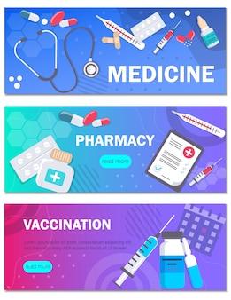 Modelos de conceito de farmácia e vacinação para banners web horizontais. pode usar para planos de fundo, infográficos, imagens de heróis. ilustração médica moderna de saúde