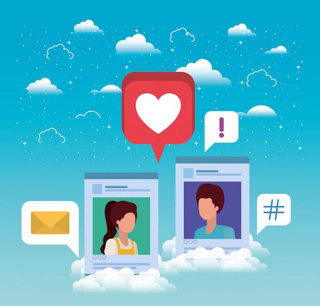 Modelos de contas de casal de mídia social