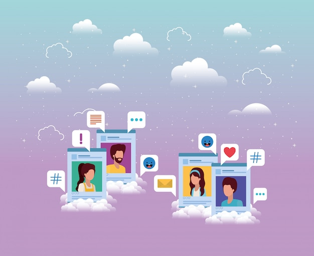 Modelos de contas do grupo de mídias sociais