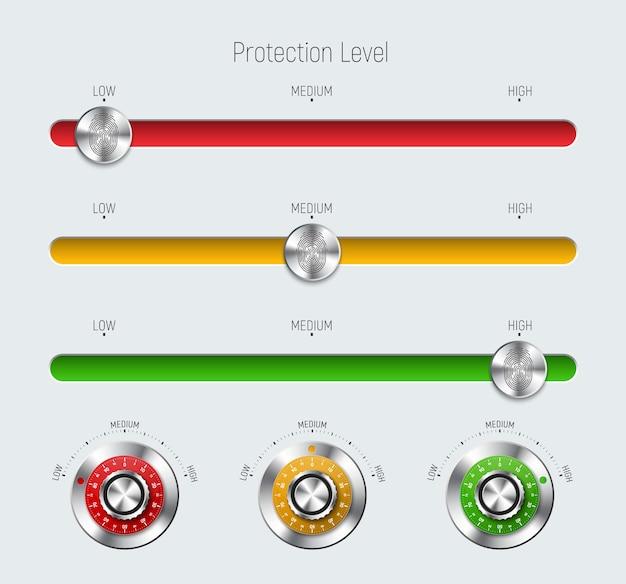 Modelos de controles deslizantes vermelhos, amarelos e verdes com um nível de proteção, uma impressão digital e uma fechadura mecânica de metal