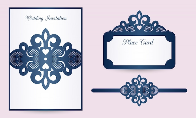 Modelos de convite de casamento cortados a laser: cartão de banda para o ventre, cartão de lugar.