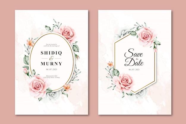Modelos de convite de casamento floral aquarela linda