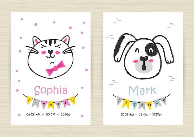 Modelos de convite para chá de bebê com gato e cachorro