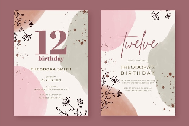 Modelos de convites de aniversário florais pintados à mão em duas versões