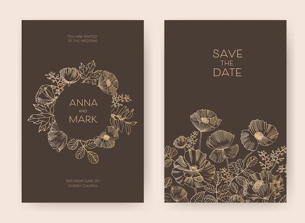 Modelos de convites de casamento e cartões florais para salvar a data com flores desabrochando no jardim