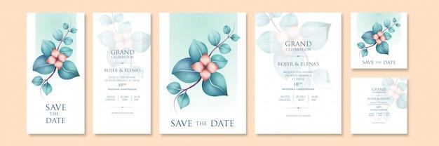 Modelos de convites elegantes com arte floral em cores claras e tamanhos variáveis